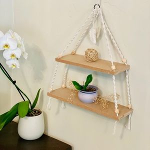 j. Cruz Wall Art - Wall hanging boho macrame double shelf
